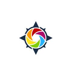Compass camera logo icon design vector