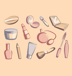 cosmetics sketches vector image