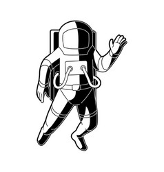 cosmonaut in spacesuit flying in weightlessness in vector image