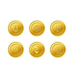 crypto currency eos iota tron stratis ethereum vector image