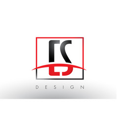 cs c s logo letters with red and black colors and vector image