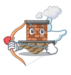 cupid brick chimney in the shape mascot vector image