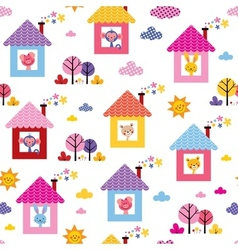 Cute animals in houses kids pattern vector