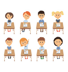 cute elementary school kids in classroom set vector image