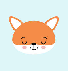 cute sleeping fox childish vector image