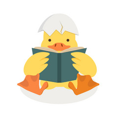 Duck reading a book with broken egg shell vector