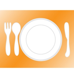 empty plate with spoon and knife fork vector image