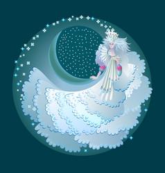 Fabulous winter fairy abstract portrait vector