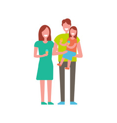 Family of mother father and daughter isolated vector