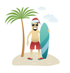 festive christmas banner man on beach stands under vector image