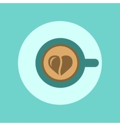 flat icon on background Cup coffee Heart vector image