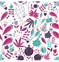 floral seamless pattern with flowers and plants in vector image