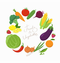 fresh vegetables around text place in flat vector image