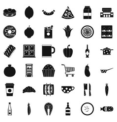 gala dinner icons set simple style vector image
