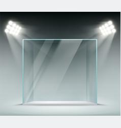 Glass transparent cube illuminated by spotlights vector
