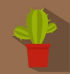 Green cactus in red pot icon flat style vector