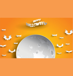 halloween background with moon and bats in paper vector image