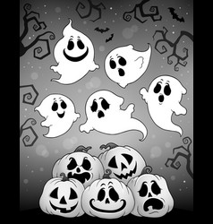 Halloween image with ghosts theme 6 vector
