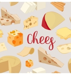 Hand drawn set of chees pattern vector image