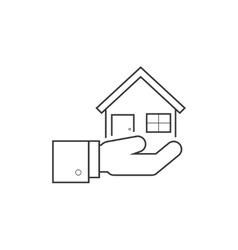 Hand holding house line icon vector