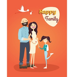 Happy Family Father Pregnant Mom and Daughter vector image