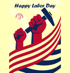happy labor day vintage banner or poster vector image