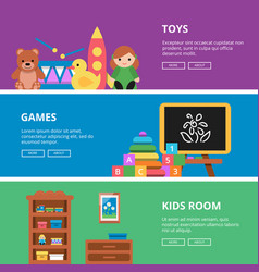 Horizontal banners with pictures of toys for kids vector