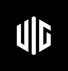 initial letter uig hexagon logo aphabet hexagonal vector image