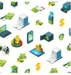 isometric money in bank icons pattern vector image