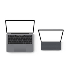 Laptop computer and tablet mockup top view vector