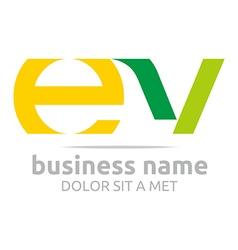 Letter e v alphabet element icon vector