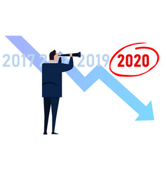 Manager businessman looking at down turn chart vector