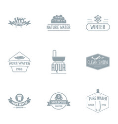 Melt the ice logo set simple style vector