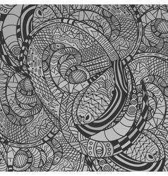 Monochrome decorative snake pattern vector