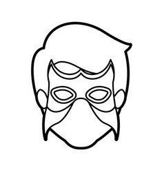 Monochrome thick contour head of faceless man vector