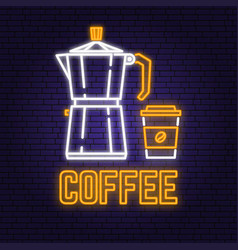 neon coffee retro sign on brick wall background vector image