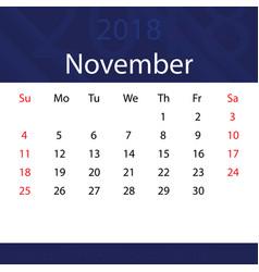 november 2018 calendar popular blue premium for vector image