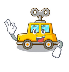 Okay cartoon clockwork toy car in table vector