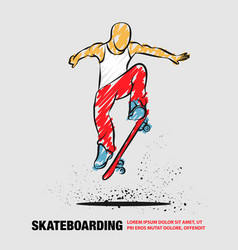ollie skateboarder guy outline of vector image