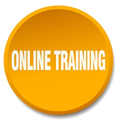 Online training orange round flat isolated push vector