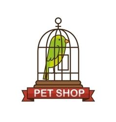 Parrot pet shop icon vector