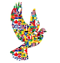Peace concept with dove made of World flags vector image