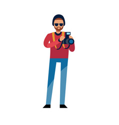 photographer at work man holding photo camera vector image