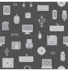 Pixel art computer objects seamless pattern vector