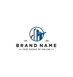 Planes and buildings logo design vector
