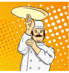 Pop art man cook pizza chef tossing pizza dough vector