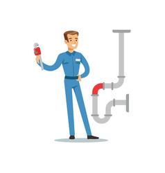 Proffesional plumber man character with monkey vector