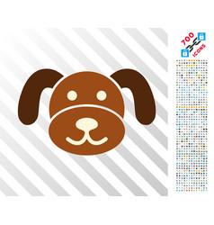 Puppy head flat icon with bonus vector