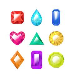 realistic detailed 3d color jewels set vector image