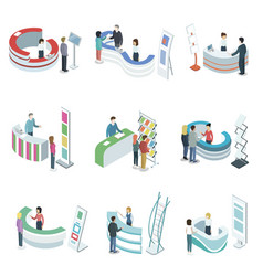 reception counter desks isometric 3d set vector image